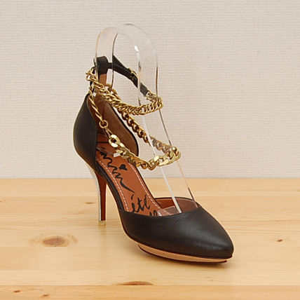 Leather Pin Heels Stiletto Pumps & Mules