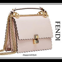 FENDI KAN I Studded 2WAY Chain Plain Leather Elegant Style Handbags