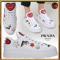 PRADA Heart Star Round Toe Rubber Sole Lace-up Casual Style
