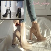 Round Toe Faux Fur Chunky Heels Ankle & Booties Boots