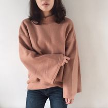 Plain Cotton Medium High-Neck Dark Brown Puff Sleeves