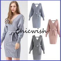 Chicwish Short Casual Style Tight V-Neck Long Sleeves Plain Dresses