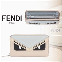 FENDI BAG BUGS Calfskin Studded Long Wallets