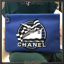 CHANEL ICON Unisex Canvas A4 2WAY Clutches