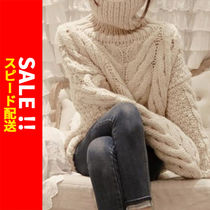 Cable Knit Casual Style Long Sleeves Plain Medium High-Neck