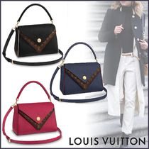 Louis Vuitton DOUBLE V Monogram Blended Fabrics 2WAY Bi-color Leather Elegant Style