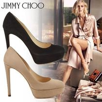 Jimmy Choo Platform Plain Toe Casual Style Suede Plain