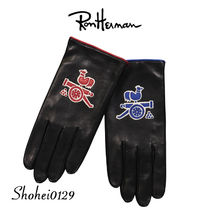 Ron Herman Unisex Plain Leather Handmade Leather & Faux Leather Gloves