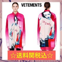 VETEMENTS Casual Style Street Style Long Sleeves Cotton Long