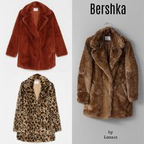Bershka Faux Fur Plain Long Cashmere & Fur Coats
