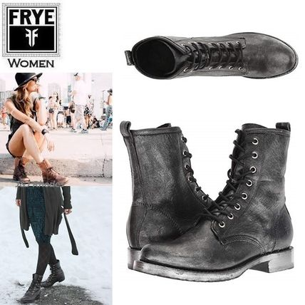 Lace-up Casual Style Plain Leather Lace-up Boots