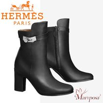 HERMES Plain Toe Street Style Plain Leather Block Heels