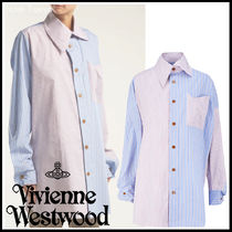 Vivienne Westwood Stripes Unisex Cotton Long Elegant Style Super-long Sleeves