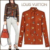 Louis Vuitton Silk Bi-color Long Sleeves Medium Elegant Style