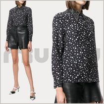 MiuMiu Star Casual Style Silk Studded Long Sleeves Shirts & Blouses