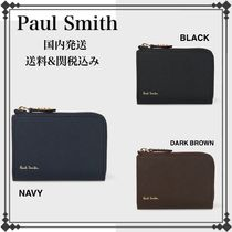 Paul Smith Stripes Street Style Plain Leather Coin Cases