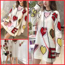 Cable Knit Heart Casual Style U-Neck Medium Oversized