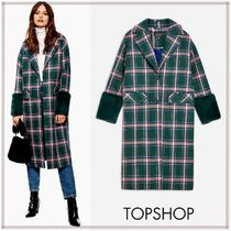 TOPSHOP Other Check Patterns Blended Fabrics Long Elegant Style