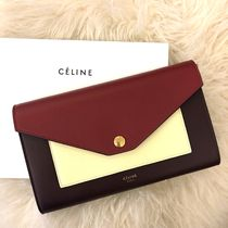 CELINE Flap Leather Long Wallets