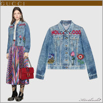 GUCCI Short Flower Patterns Casual Style Denim Street Style