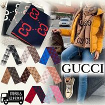 GUCCI Unisex Wool Blended Fabrics Tribal Scarves