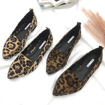 Leopard Patterns Casual Style Faux Fur Loafer Pumps & Mules
