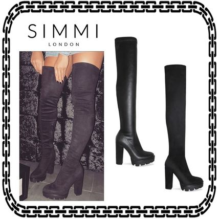 Platform Casual Style Street Style Plain Over-the-Knee Boots