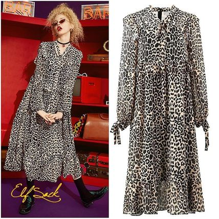 Leopard Patterns Casual Style Street Style Dresses