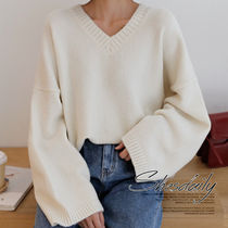 Casual Style V-Neck Plain Medium Oversized Puff Sleeves