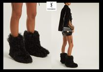 Saint Laurent Round Toe Casual Style Fur Plain Chunky Heels