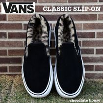 VANS SLIP ON Leopard Patterns Casual Style Low-Top Sneakers