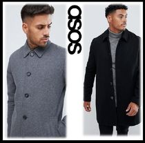 ASOS Wool Blended Fabrics Street Style Plain Long