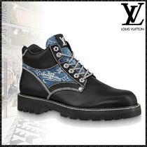 Louis Vuitton MONOGRAM Plain Toe Mountain Boots Blended Fabrics Street Style Plain