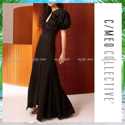 A-line U-Neck Plain Long Puff Sleeves Dresses