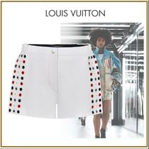 Louis Vuitton Short Dots Blended Fabrics Street Style Leather