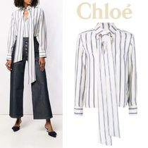 Chloe Stripes Silk Long Sleeves Medium Elegant Style