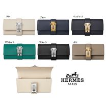HERMES Plain Leather Elegant Style Clutches