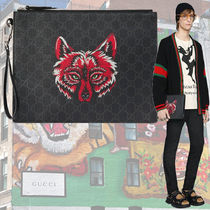 GUCCI Monogram Canvas Blended Fabrics Other Animal Patterns