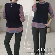 Other Check Patterns Casual Style Long Sleeves Medium