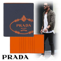 PRADA Unisex Plain Leather Folding Wallets