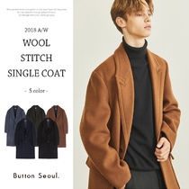 Wool Plain Long Chester Coats