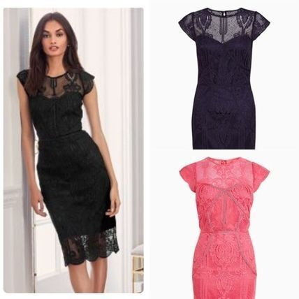 Crew Neck Tight Medium Short Sleeves Lace Dresses