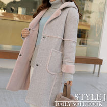 Casual Style Faux Fur Medium Fur Leather Jackets Coats