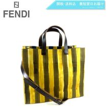 FENDI Stripes Canvas A4 2WAY Totes