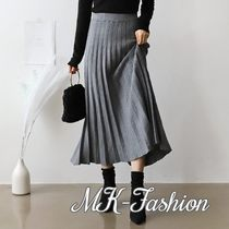 Flared Skirts Casual Style Wool Plain Long Maxi Skirts