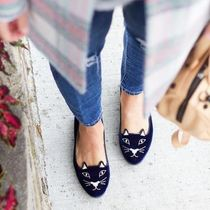 Charlotte Olympia Casual Style Velvet Street Style Other Animal Patterns Flats