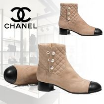 CHANEL ICON Bi-color Leather Block Heels Elegant Style