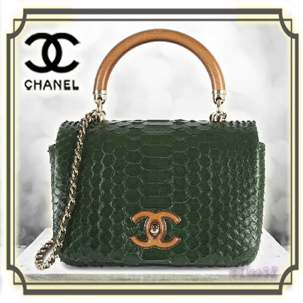 37c006be830 ... CHANEL Handbags Calfskin 2WAY Chain Python Elegant Style Handbags ...