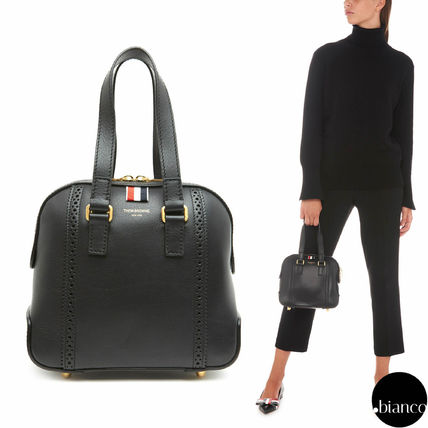 Stripes Calfskin 2WAY Plain Elegant Style Shoulder Bags