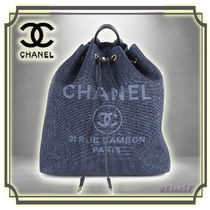 CHANEL DEAUVILLE Canvas Chain Plain Elegant Style Backpacks